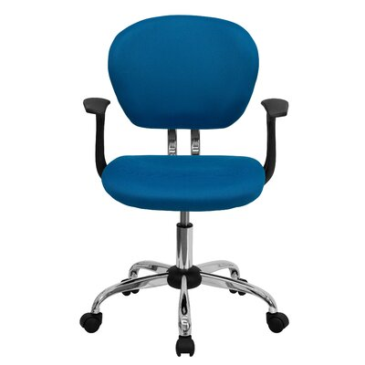 Personalized Mid-Back Mesh Desk Chair Color: Turquoise, Arms: With Arms