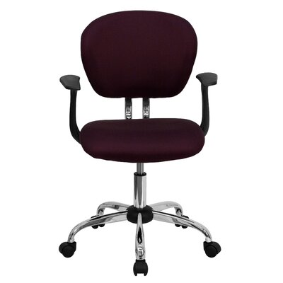 Personalized Mid-Back Mesh Desk Chair Color: Burgundy, Arms: With Arms