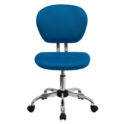 Personalized Mid-Back Mesh Desk Chair Color: Turquoise, Arms: No Arms