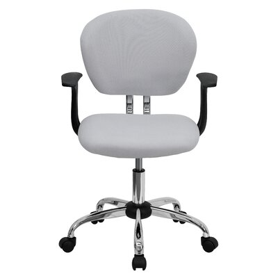 Personalized Mid-Back Mesh Desk Chair Color: White, Arms: With Arms