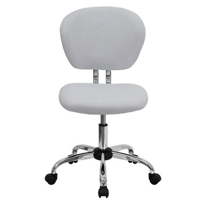 Personalized Mid-Back Mesh Desk Chair Color: White, Arms: No Arms