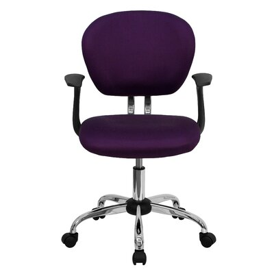 Personalized Mid-Back Mesh Desk Chair Color: Purple, Arms: With Arms