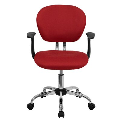 Personalized Mid-Back Mesh Desk Chair Color: Red, Arms: With Arms