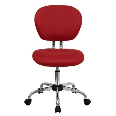 Personalized Mid-Back Mesh Desk Chair Color: Red, Arms: No Arms
