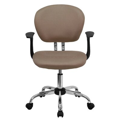 Personalized Mid-Back Mesh Desk Chair Color: Coffee Brown, Arms: With Arms