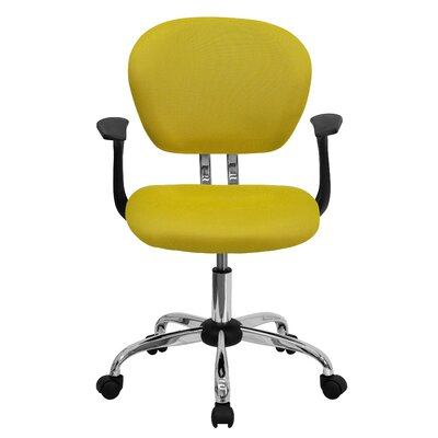 Personalized Mid-Back Mesh Desk Chair Color: Yellow, Arms: With Arms
