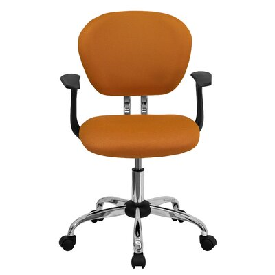 Personalized Mid-Back Mesh Desk Chair Color: Orange, Arms: With Arms