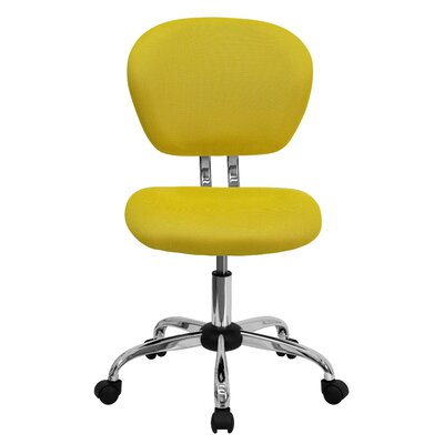 Personalized Mid-Back Mesh Desk Chair Color: Yellow, Arms: No Arms