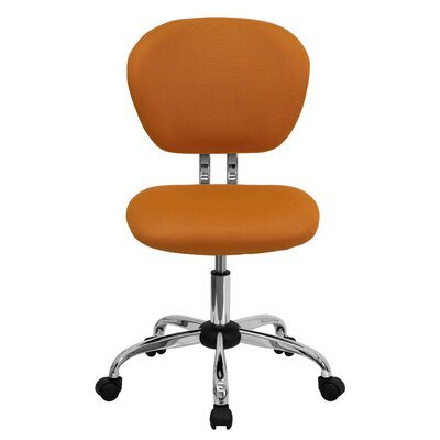 Personalized Mid-Back Mesh Desk Chair Color: Orange, Arms: No Arms