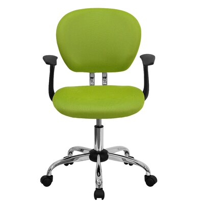Personalized Mid-Back Mesh Desk Chair Color: Apple Green, Arms: With Arms