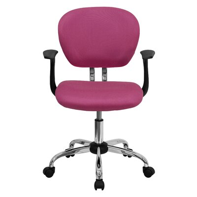 Personalized Mid-Back Mesh Desk Chair Color: Pink, Arms: With Arms