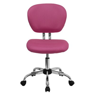 Personalized Mid-Back Mesh Desk Chair Color: Pink, Arms: No Arms