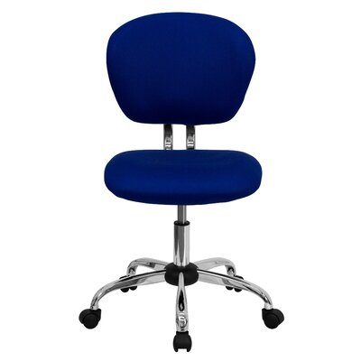 Personalized Mid-Back Mesh Desk Chair Color: Blue, Arms: No Arms