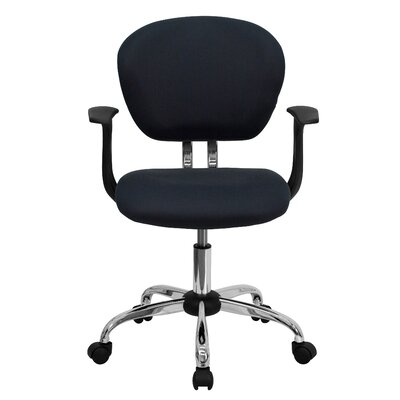 Personalized Mid-Back Mesh Desk Chair Color: Gray, Arms: With Arms