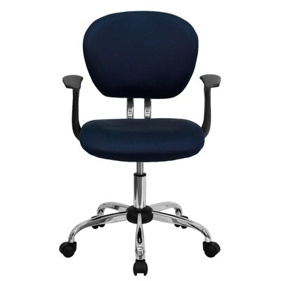 Personalized Mid-Back Mesh Desk Chair Color: Navy, Arms: With Arms