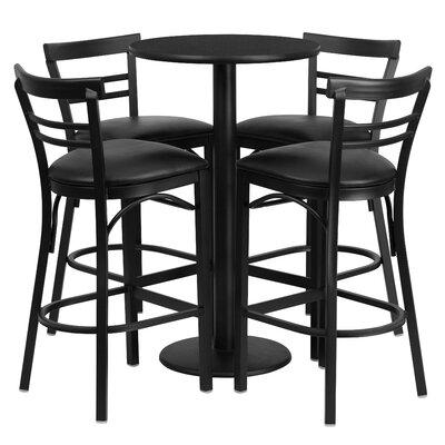 Naro 5 Piece Pub Table Set Color: Black