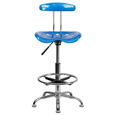 Personalized High-Back Drafting Chair Upholstery: Bright Blue