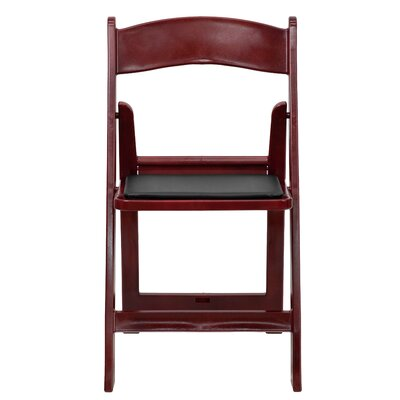 Hercules Series Personalized Resin Folding Chair with Vinyl Padded Seat Color: Mahogany Red