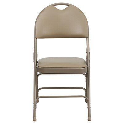 Hercules Series Personalized Folding Chair with Easy-Carry Handle Color: Beige