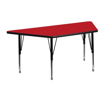 "45.25"" x 20"" Trapezoidal Activity Table Tabletop Color: Red"