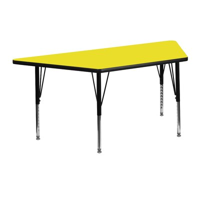 "45.25"" x 20"" Trapezoidal Activity Table Tabletop Color: Yellow"