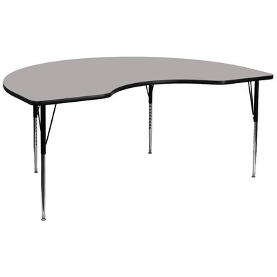 "96"" x 48"" Kidney Activity Table Tabletop Color: Grey"