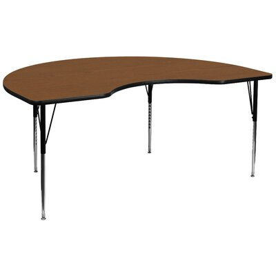 "96"" x 48"" Kidney Activity Table Tabletop Color: Oak"