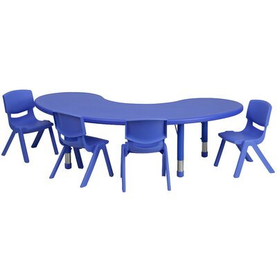 "5 Piece Kidney Activity Table & 10.5"" Chair Set Tabletop Color: Blue"