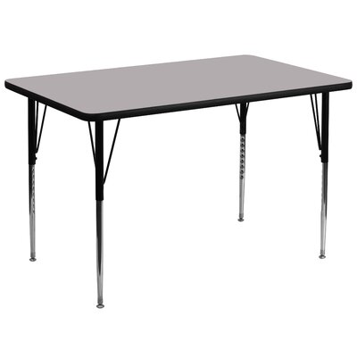 "72"" x 36"" Rectangular Activity Table Tabletop Color: Grey"