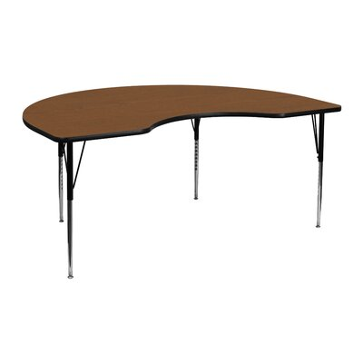 "72"" x 48"" Kidney Activity Table Tabletop Color: Oak"