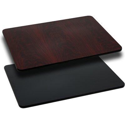 "Rectangular Reversible Laminate Table Top Color: Black or Mahogany, Quantity: Set of 30, Size: 30""W x 45""L"