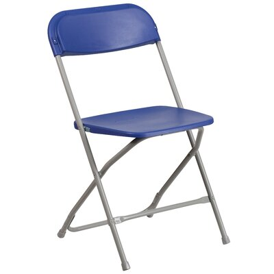 Laduke Premium Plastic Folding Chair Color: Blue