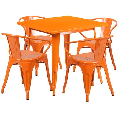 Markeshia 5 Piece Dining Set Finish: Orange