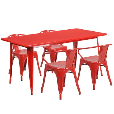 Lubron 5 Piece Dinning Set Finish: Red