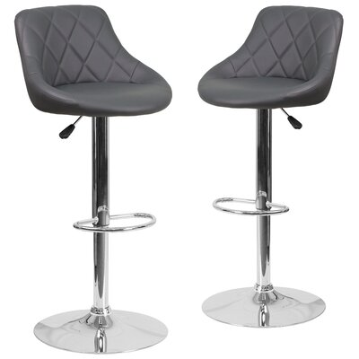 Fleur Adjustable Height Swivel Bar Stool Upholstery: Gray