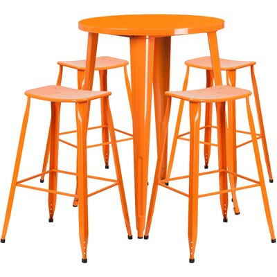 """Brighton 5 Piece Bar Height Dining Set Color: Orange, Table Size: 41"""" H x 30"""" W x 30"""" D"""