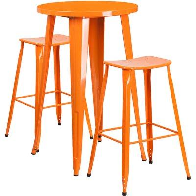 "Bridgeyate 3 Piece Bar Height Dining Set Color: Orange, Table Size: 41"" H x 30"" W x 30"" D"