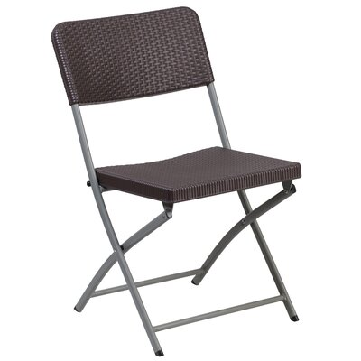 Laduke Rattan Plastic Folding Chair with Frame
