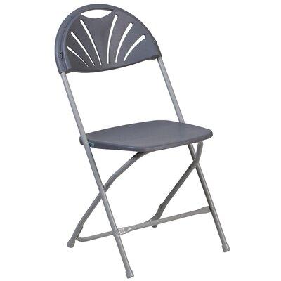 Laduke Plastic Fan Back Folding Chair Color: Gray