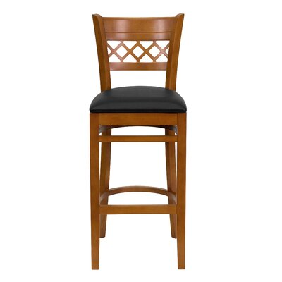 "Oliverson Lattice Back Wooden Restaurant 29.25"" Bar Stool Frame Color: Cherry, Upholstery: Black"