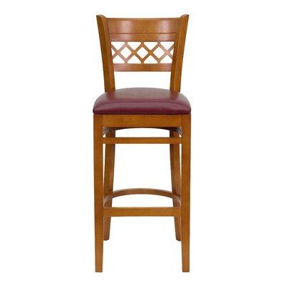 """Oliverson Lattice Back Wooden Restaurant 29.25"""" Bar Stool Frame Color: Cherry, Upholstery: Burgundy"""