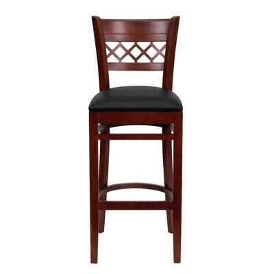 "Oliverson Lattice Back Wooden Restaurant 29.25"" Bar Stool Upholstery: Black, Frame Color: Mahogany"