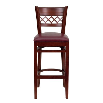 "Oliverson Lattice Back Wooden Restaurant 29.25"" Bar Stool Upholstery: Burgundy, Frame Color: Mahogany"