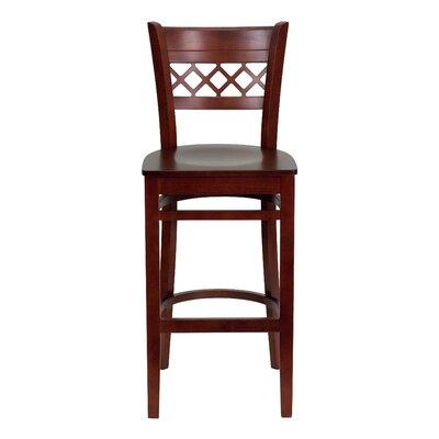 Oliverson Lattice Back Wooden Restaurant Bar Stool Color: Mahogany