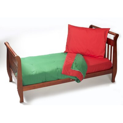 Solid Reversible 4 Piece Toddler Bedding Set Color: Red/Green
