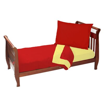 Solid Reversible 4 Piece Toddler Bedding Set Color: Red/Yellow