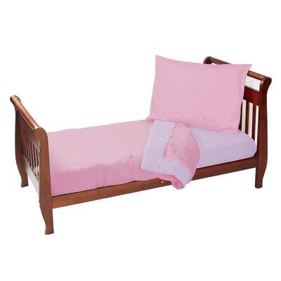 Solid Reversible 4 Piece Toddler Bedding Set Color: Pink/Lavender