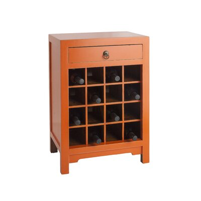 16 Bottle Floor Wine Cabinet Color: Orange