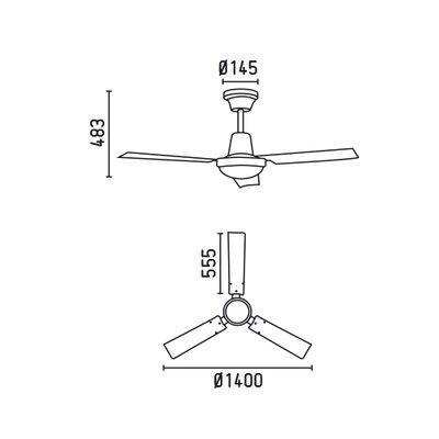 Faro 64cm Indus 3 Blade Ceiling Fan