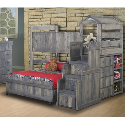 Lille Twin Over Full L-Shaped Bunk Beds with Stairway Chest
